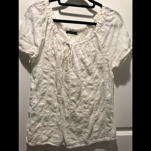 Abercrombie & Fitch White Eyelet Top